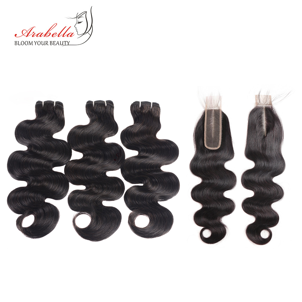 Brazilian Body Wave Hair Bundles With 2 6 Lace Closure Arabella Natural Color Remy 100 Human