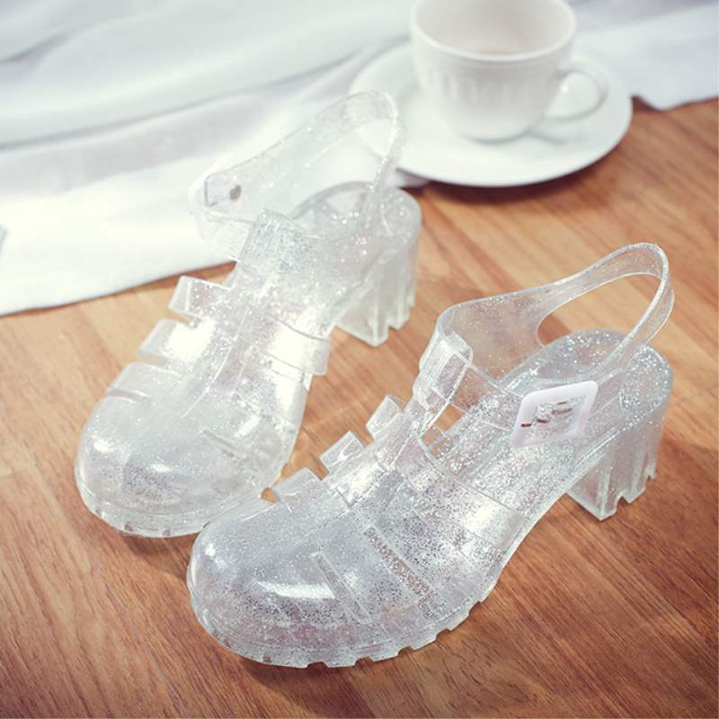 Bestselling Women Sandals Summer Fashion Retro Crystal Thick Transparent Woman Sandal T-Roman Sandals Jelly Shoes 2018 new new breathable crystal jelly net shoes bird nest woman sandals summer casual fashion shoes