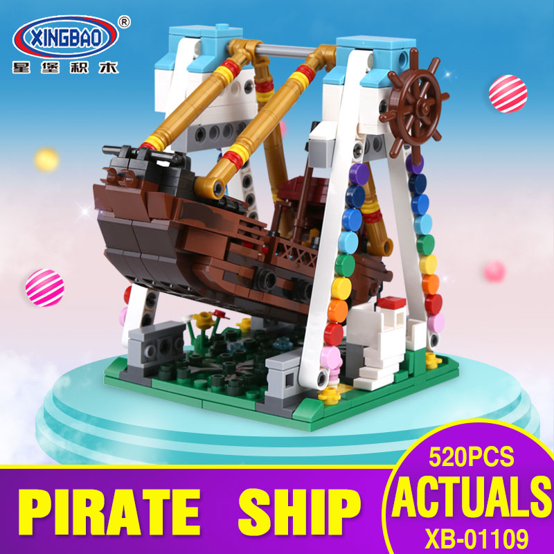 XingBao 01109 Genuine 520pcs Colorful World Series The Pirate Ship Set Building Blocks Bricks Educational Toys Model As kid Gift lepin 16042 2344pcs the slient mary set new pirate ship series children educational building blocks bricks toys model gift 71042