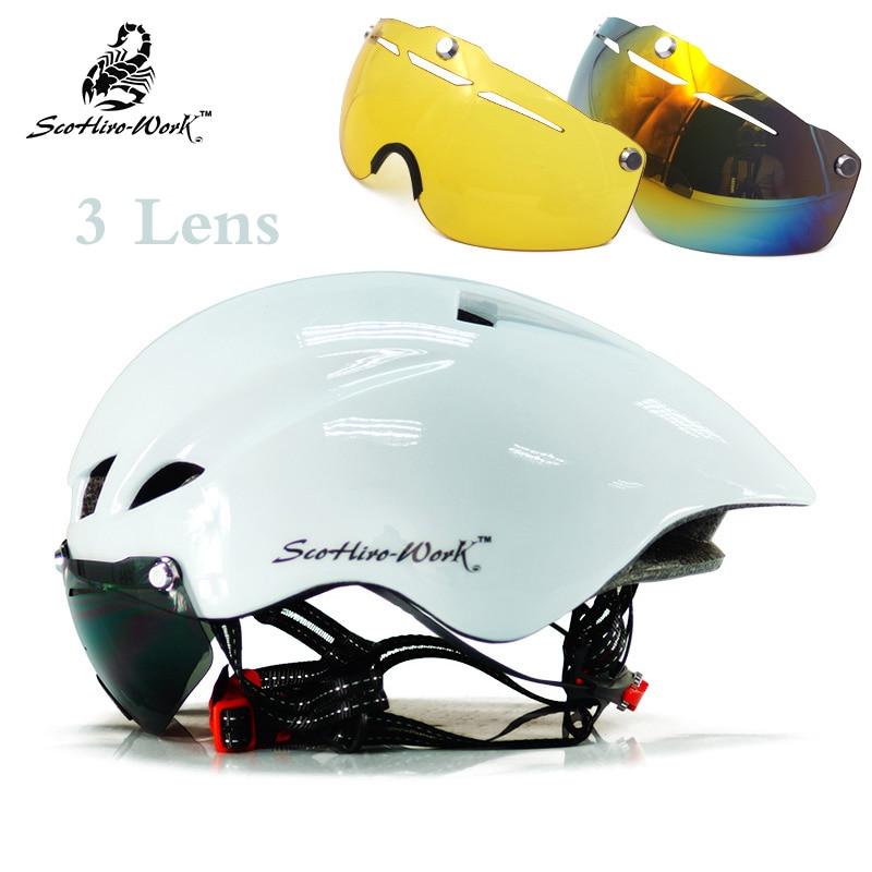 SCOHIROWORK 3 Lens Bicycle Helmets Integrally Molded Women Men Goggles Cycle Bike Helmet Mountain Road Casco Ciclismo 57-61cm цена