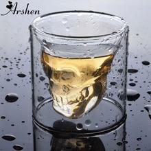 Arshen, креативный, 4 размера, двойная стенка, Череп, кофе, пивная чашка, прозрачное вино, виски, шампанское, коктейли, посуда для напитков, вечерние, подарок