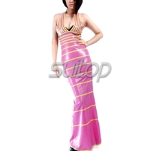 Latex Rubber tight Dress red color sexy club long mermaid dresses  longuette  dovetail bobtail