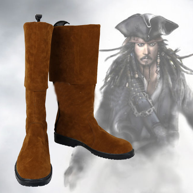 Pirates of the Caribbean Pirate Captain Jack Sparrow Brown Cosplay Shoes Boots Halloween Carnival Party Costume Accessories