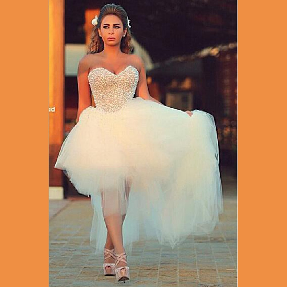 Asymmetrical Wedding Gown: 2015 Pearls Luxurious Arabic Sweetheart Ball Gown