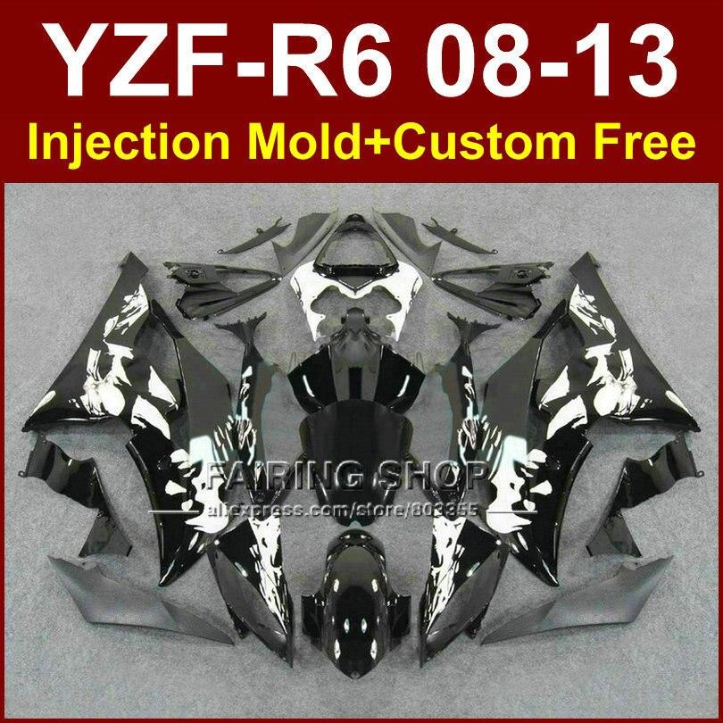 Плоская черная литьевая форма на заказ Обтекатели для YAMAHA 2008 2009 2011 2013 YZF R6 кузов YZF R6 08 13 aftermarket YZF1000 R6