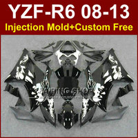 Flat black Injection mold custom fairings for YAMAHA 2008 2009 2011 2013 YZF R6 bodywork YZF R6 08 13 aftermarket YZF1000 R6