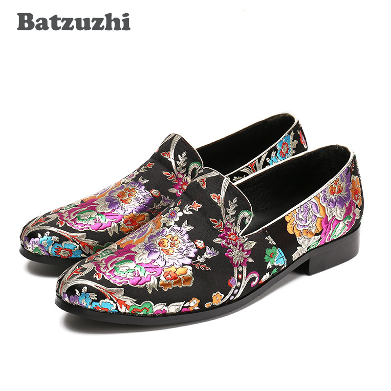 Batzuzhi 2018 New Handmade Flowers Print Suede China Style Men Loafers Wedding and Party Men Shoes Fashion Men's Loafers, 38-46 2016 new style handmade white color print gold flower china style men loafers wedding and party men shoes fashion men s flats