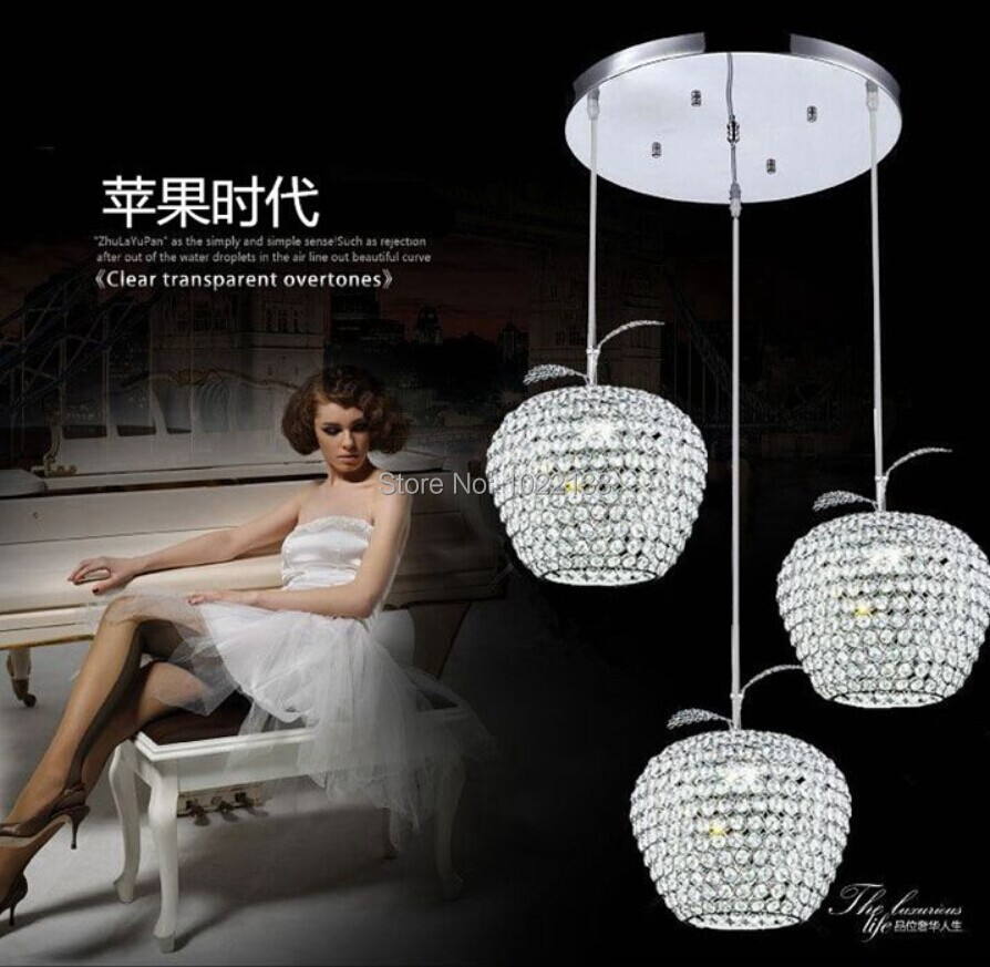 Modern minimalist apple LED k9 crystal lamp chandelier in the dining room bedroom living room crystal chandelier free shipping free shipping double head candle lamp sitting room dining room lamp bedroom bedside k9 crystal lamp
