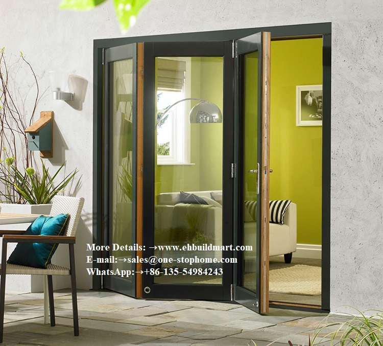 Aluminum Bifold Doors With Glasses Integrated,prefabricated Bi Folding Door With Aluminium Alloy Frame,outdoor Folding Door