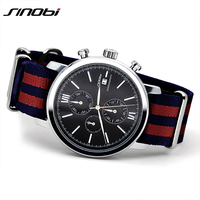 SINOBI Sports Watches Men Chronograph Wrist Watches Army NATO Nylon Band Watch Luxury Brand Reloj Male