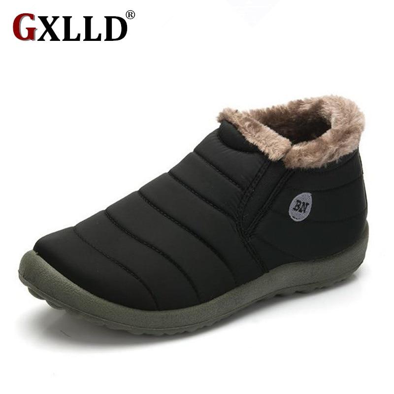 Новая мода Мужская зимняя обувь однотонные зимние сапоги теплые водонепроницаемые лыжные ботинки на нескользящей подошве с хлопчатобумажным утеплителем внутри, Размеры 45