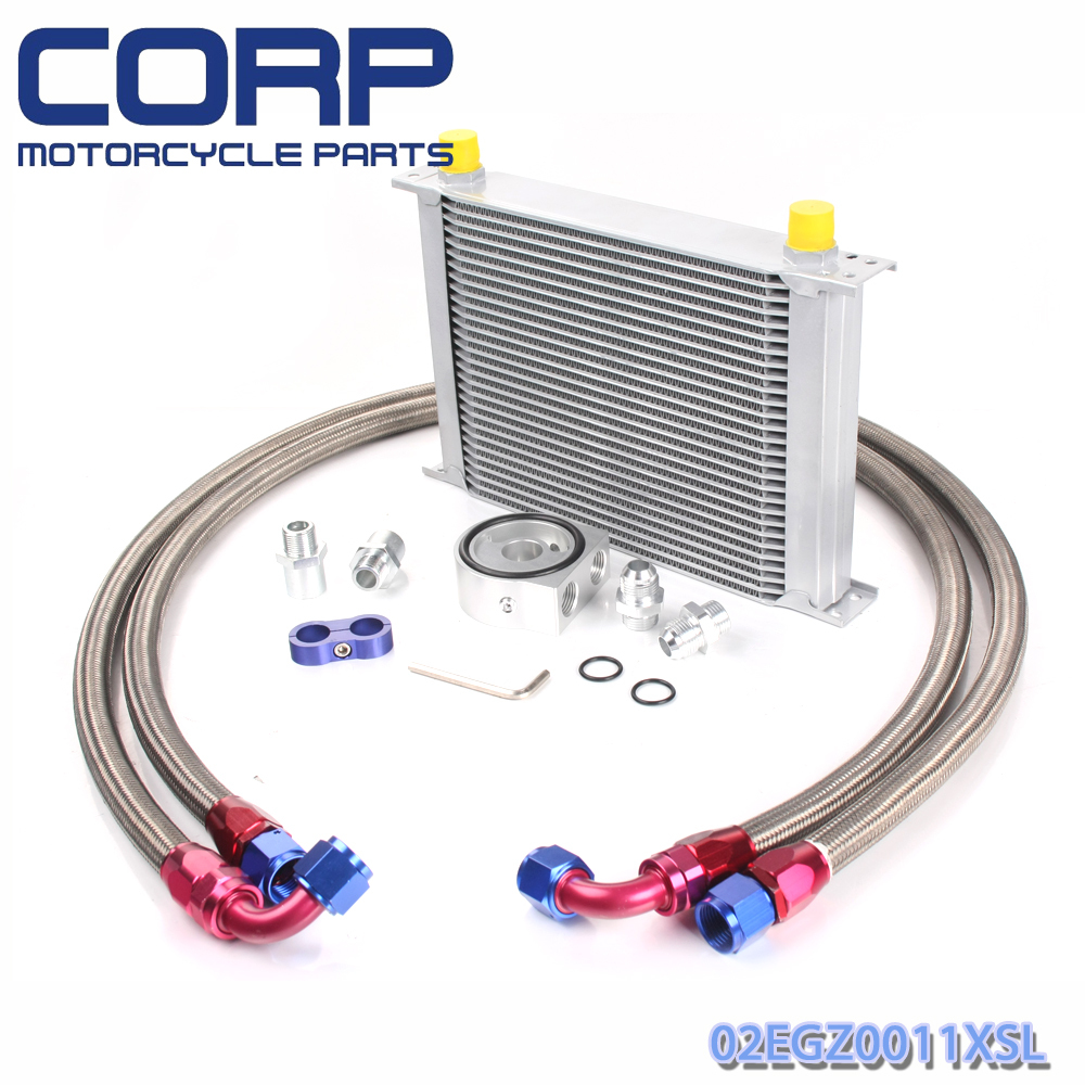 Universal 28 Row JDM Engine Oil Cooler Kit + Sandwich Plate + AN10 Oil Lines Kit