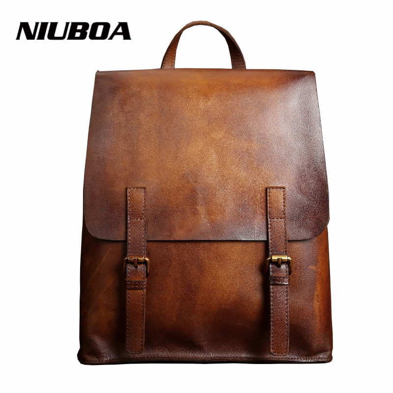 NIUBOA Women's Backpacks Vintage Genuine Leather Female Backpack Women Schoolbag Girls Brush Color Shoulder Travel Mochila Bolsa