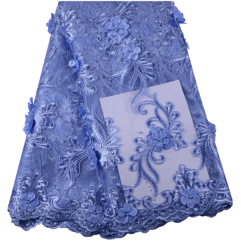 Newest sky blue 3 D Flowers Beads French Lace Fabric For Wedding Dress Africa embroidery Lace