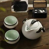 3Pcs Set Traveling Bag Chinese KONGFU Tea Set Retro Rough Pottery Ceramic Tea Sets Teapot Filter