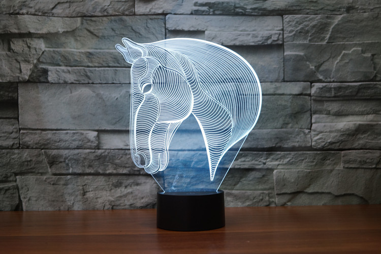 7 Colors Horse Decoration Cartoon Small Horse Racing Toy Action Figures Product 3D Table Lamp Led Toys Funny Gift The Horse