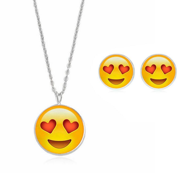 2017 Fashion Hot Cute Emoji Expression Stud Earrings & Pendant Choker Necklace For Women Silver Color Women Jewelry Sets Gift