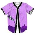 Verter Magra Jersey overshirt camisas 3d con Un Solo Pecho camisa de verano estilo de La Calle de Hip Hop de béisbol camisas de los hombres