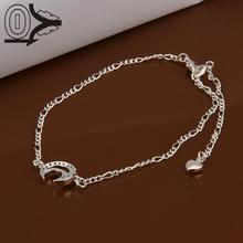 Lose Money!!Wholesale Silver Plated Anklets,Fashion Silver Foot Jewelry,Inlaid Stone Moon Anklets Bracelet For Wedding