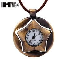UBEAUTY 2017 NEW Antique watch necklace Retro 360 degree rotation pentagram Vintage sweater necklace men and women  jewelry
