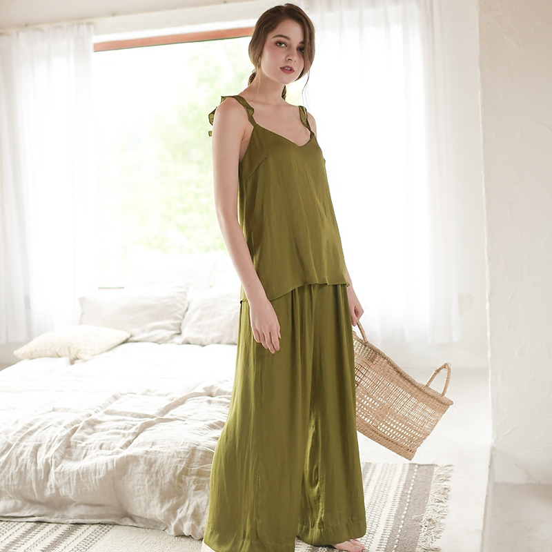 Summer Pajamas Long pants set Women Classic Sleepwear Fashion Homewear Suit Outwear Pajamas Casual