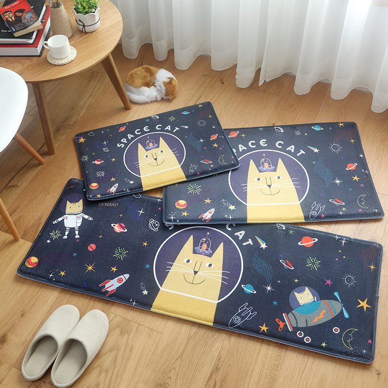 New Soft Cartoon Adorable Cat Print Flannel Kids Room Decor Carpet Absorbent Non-slip Kitchen Mat Door Bathroom Floor Mat Rug