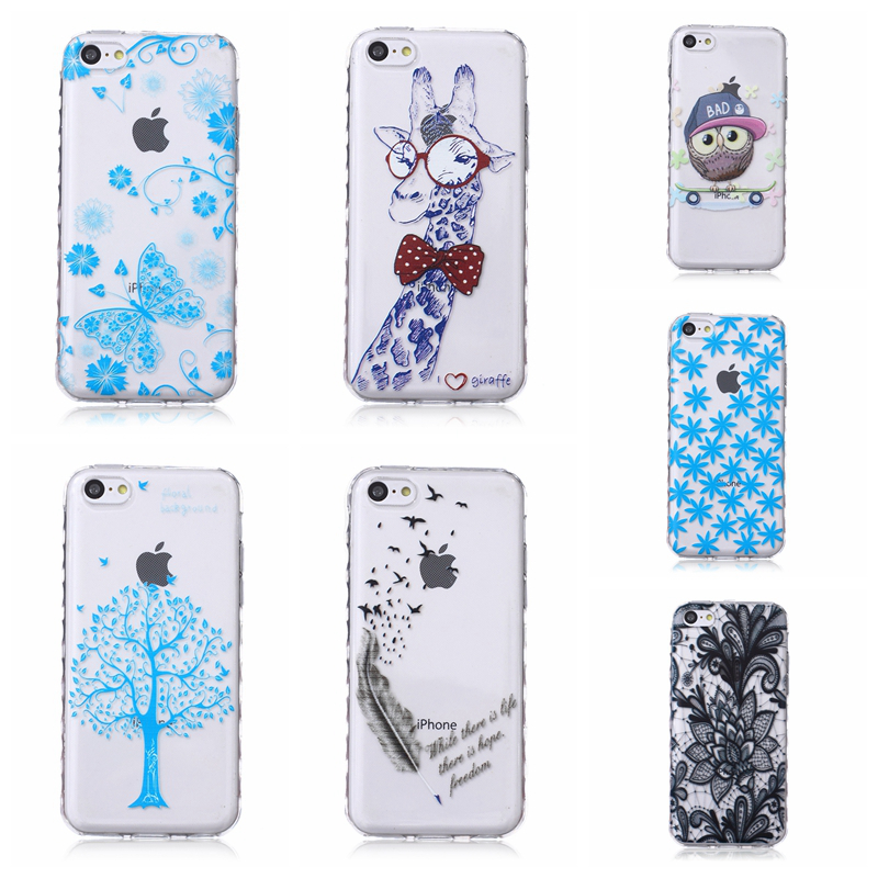 Para apple iphone 5c case patrón impreso capa coque claro tpu gel de silicona vo