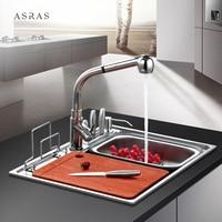 Kitchen washbasin 304 stainless steel with knife holder small sink dishwashing pool multifunction single double trough LU42713