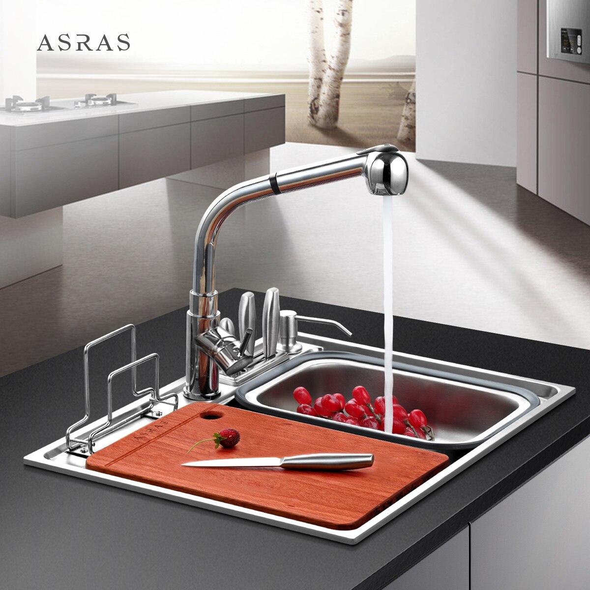 Lavabo de cuisine 304 inox avec porte-couteau petit évier lave vaisselle piscine multifonction simple double auge LU42713