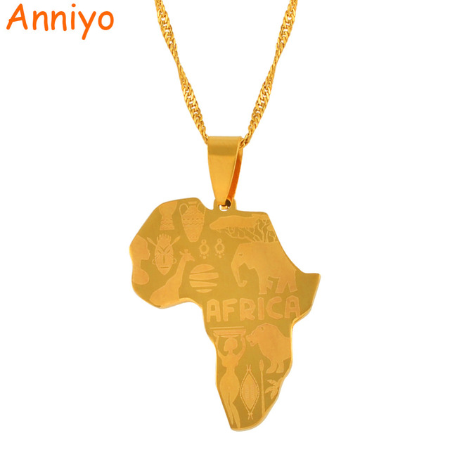 Anniyo New Africa Map Pendant Necklaces For Women/Men Gold Color Jewelry Map  Of African