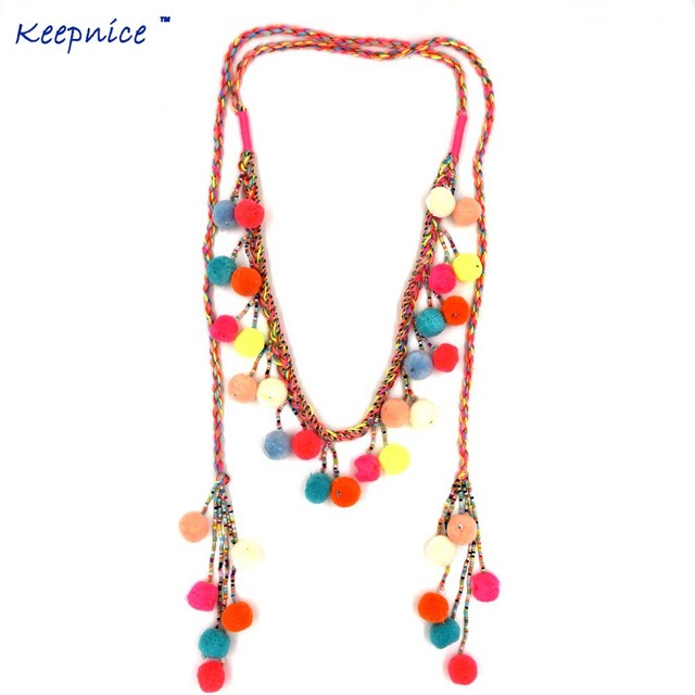 Women Colthing Accessories Bohemian Pompoms Charm Long beaded Chains Necklace Handmade Collier Pompous Tassel Boho Maxi Necklace