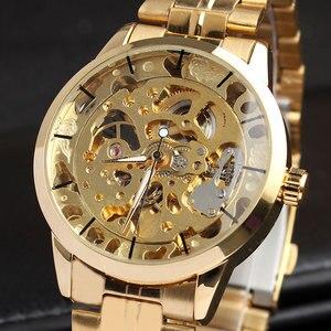Image 4 - Montre bracelet à vent automatique, Style luxueux, unisexe, en acier inoxydable, squelette, cadeau horaire, M103, pour hommes et femmes