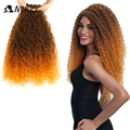 Noble Ombre Hair Bundles Afro Kinky Curly Hair Bundles 22 24 26inch 120g Super Long Hair Synthetic Curly Hair Extensions