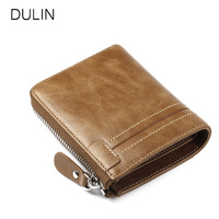 Cow Genuine Leather Men Wallets With Coin Purses Photo Lacation Vintage Wallet Card Holder Zipper Male Purse