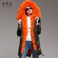 JINQIUGE Brand Winter Jacket Women 2017 Long Real Rabbit Fur Coat Female Warm Fur Jackets Natural Real Rex Rabbit Fur Lined
