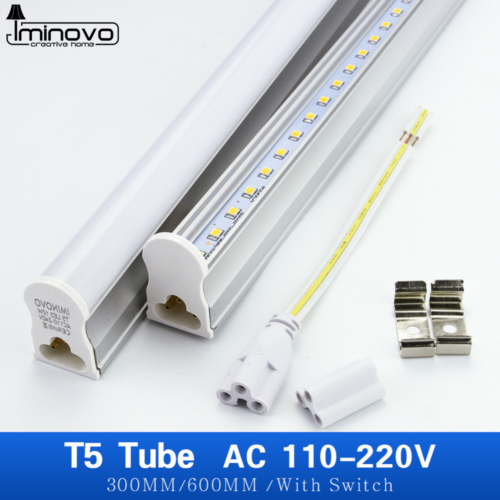 IMINOVO 6 Pcs T5 Integrated Tube LED Light AC110V 220V 600MM 300MM 6W 10W Milky Cover Cool/Warm Lamp Kitchen/Cabinet With Switch 5 30 pcs lot 1m aluminum profile for led strip milky transparent cover for 12mm pcb with fittings embedded led bar light
