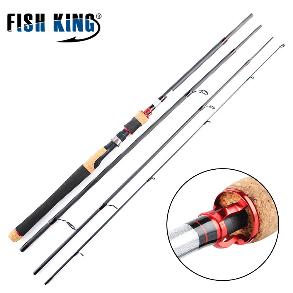 FISH KING 99% Carbon MH 2.1M to 2.7M 4 Section Soft Lure Fishing Rod Lure Weight 5-20g Spinning Fishing Rod For Lure Fishing fish king 99