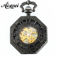2015 Antique Octagon Mechanical Pocket Watch Hand Wind Numbers With Chain Retro Skeleton Watch New Hot