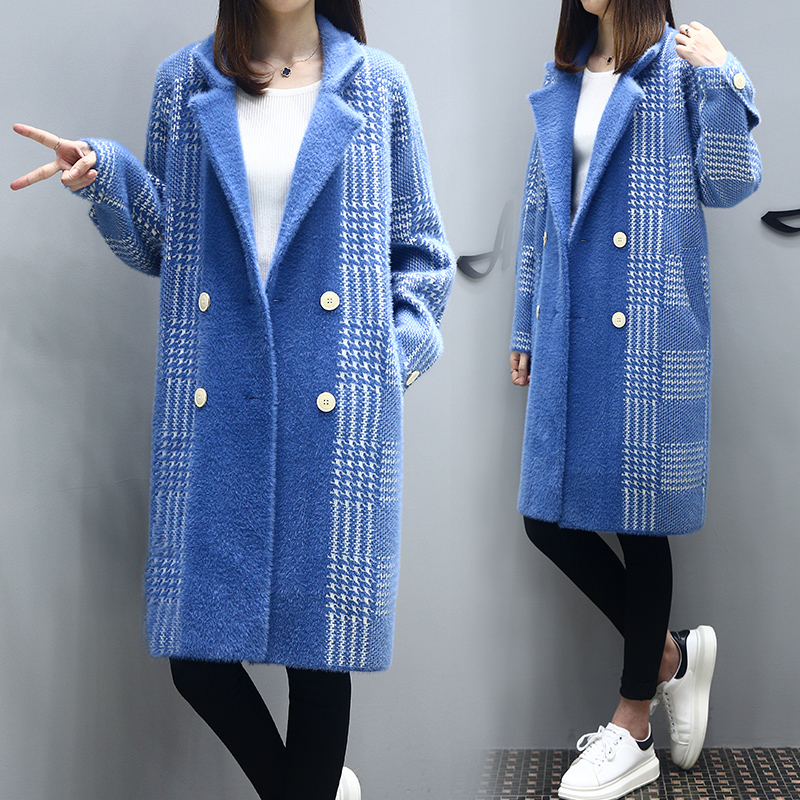 Vêtements Femmes Femelle K4252 Plus Blue Hiver Vison Taille Veste De Faux La À Imitation Haute Couture Élégant Manteaux Fourrure Carreaux Manteau wpZZUq5