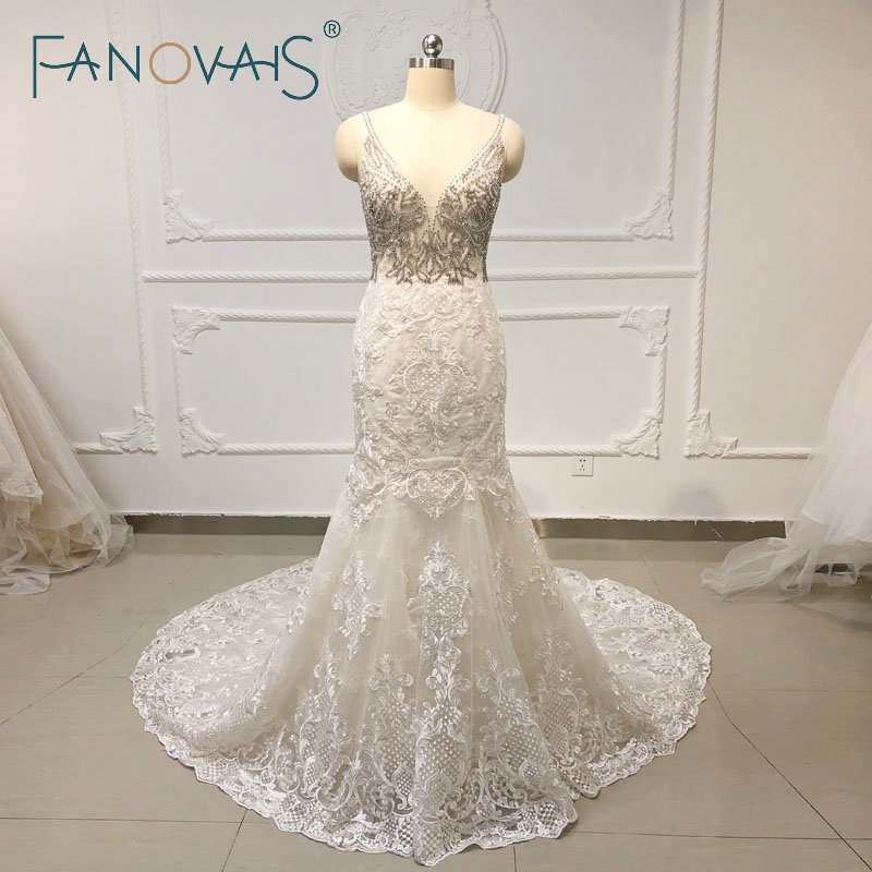Crystal RhineStone Luxury Mermaid Wedding Dresses Lace Wedding Gowns 2019 Vestido De Novia Long Train Beach Wedding Dresses