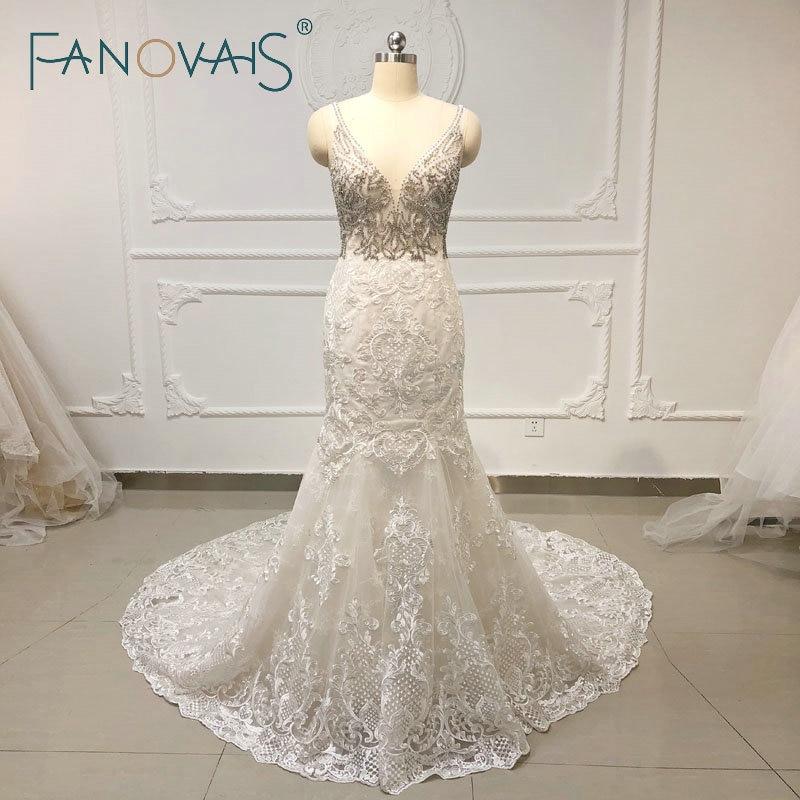 Crystal RhineStone Luxury Mermaid Wedding Dresses Lace Wedding Gowns 2019 Vestido De Novia Long Train Beach Wedding Dresses