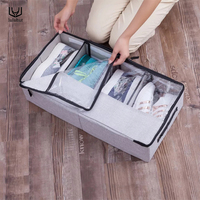 luluhut washable transparent shoes box non woven stackable foldable shoes organizer boot dust box home storage organization