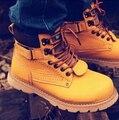 Nuevo 2014 de la marca de Los Hombres de Cuero Genuino botas de Nieve Senderismo botas de Cuero Nobuck Martin Botas de Inglaterra estilo de algodón acolchado botas de combate