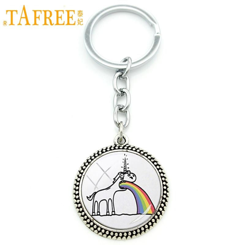 Tafree Men Women Keychain Jewelry Cartoon Vomiting Unicorn Rainbow Fantasy Humor Weird -4431