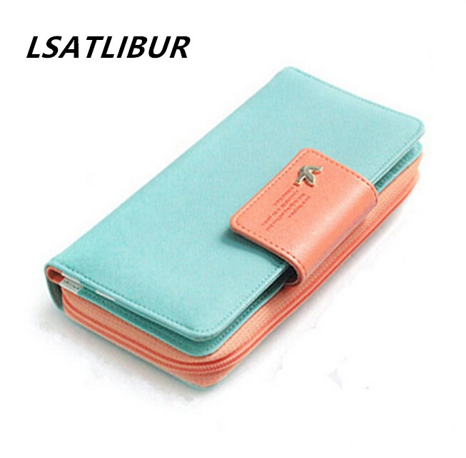 free shipping  wallets cross pattern women wallets card holder female purse hit color buckle Long Wallet Mobile Phone bags dh246