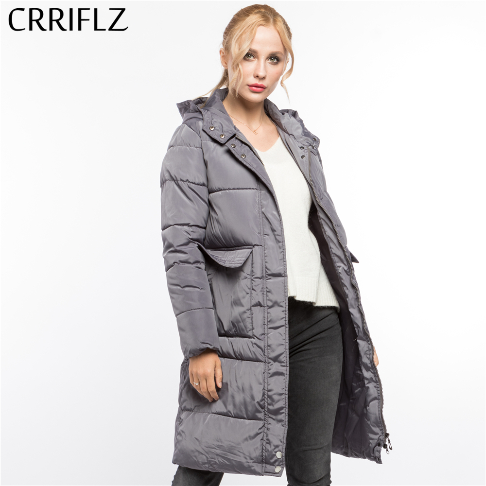 CRRIFLZ Winter Clearance Fashion Long Solid Warm Winter Jacket Women Hooded Coat   Parkas   Female Jacket Causal Snow Wear Outerwear