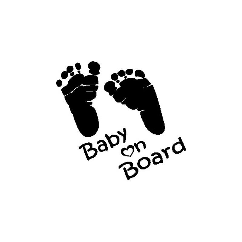 13 см * 12 см персонализированные следы Предупреждение знаки ребенок на борту автомобиля хвост Наклейки c5-1042