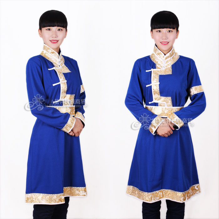 Womens Mongolian Dance Costume Stage Clothes Chinese Folk Dancewear Fancy Dress Mongolia Robe Navy Blue Mongolian Waiter Uniform