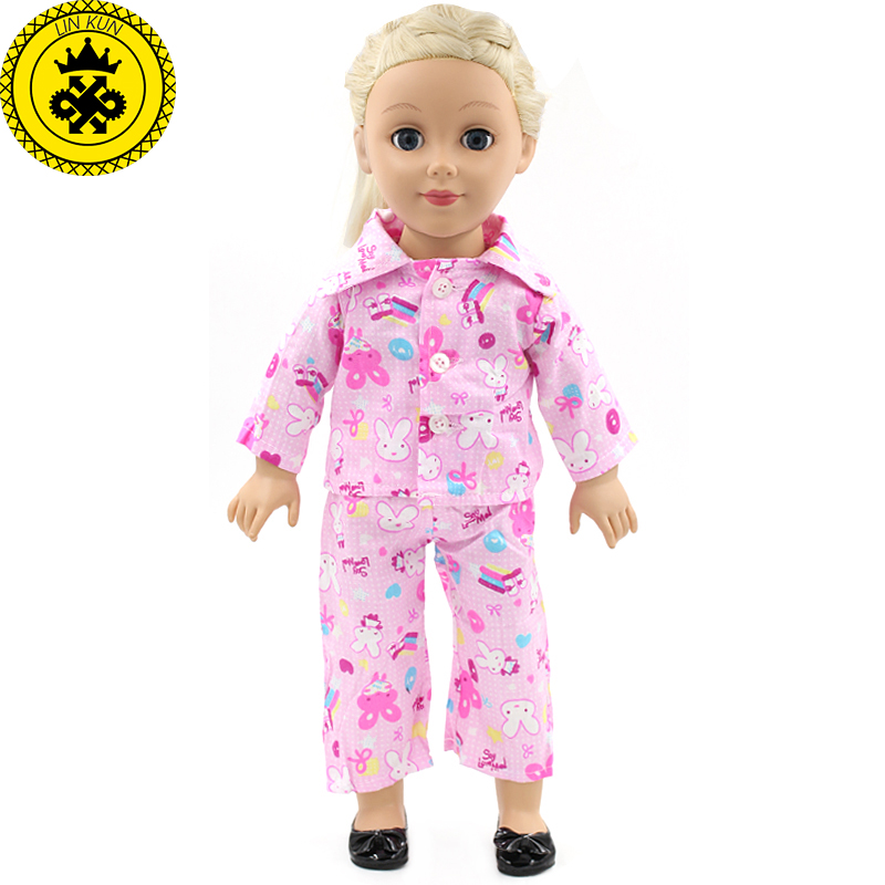 Children Handmade American Girl Pink Suit Doll Clothes Fit 18 inch American Girl Doll Clothes Baby Birthday Gift MG-023 pink wool coat doll clothes with belt for 18 american girl doll