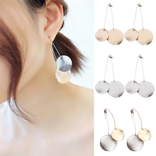 2018 new retro fashion seaside 1Pair party geometry hypoallergenic gold silver color Korean simple frosted glass wafer hot sale